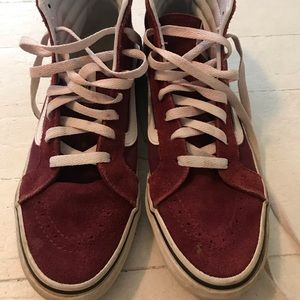 Vans high top red sneakers size 8.5